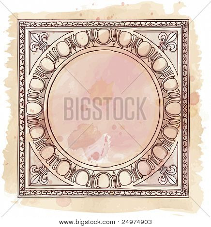 Chapiter- hand draw sketch doric architectural order & vintage watercolor background. Bitmap copy my vector id 87989026