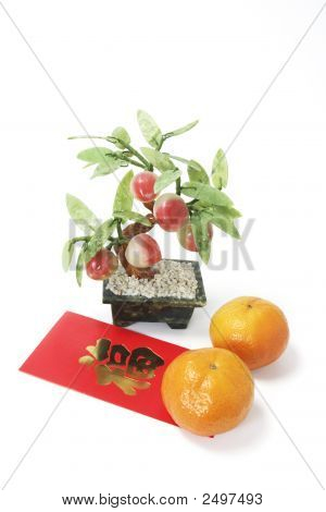 Peach Potplant With Mandarins And Red Packet