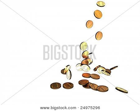 Falling coins. 3d rendering image.
