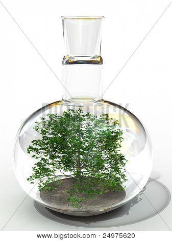 tree in the retort. 3d rendering image