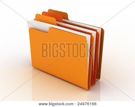 folders. 3d rendering.