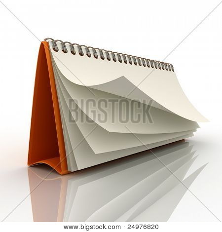 Desk calendar showing a blank page 3. 3d rendering