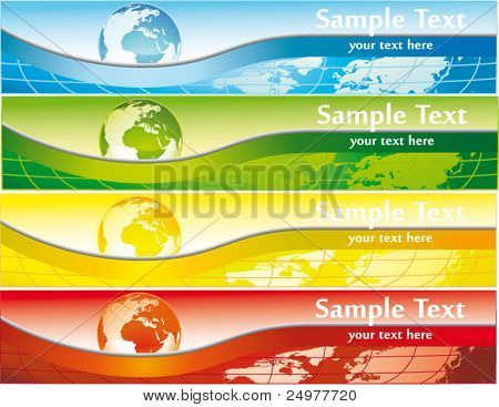 World banner set vector illustration.