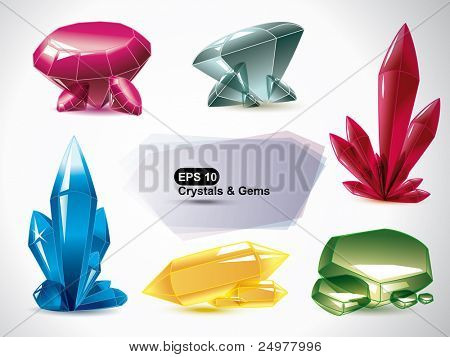 Vector set of the various shapes crystals  on a white background.