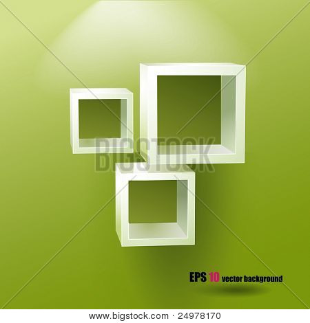 Square shelves on the green background