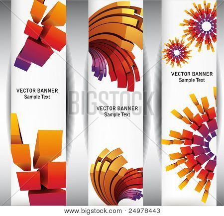 Abstract banners with geometrical forms