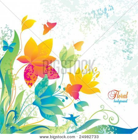 Beautiful flower background with butterfly and colibri.