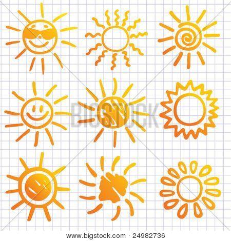 Suns . Elements for design. Doodles.