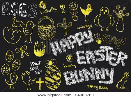 i love easter on black board