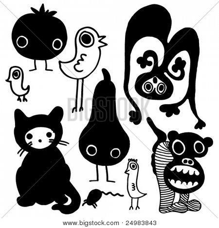 garabatos de criaturas extrañas pero divertido