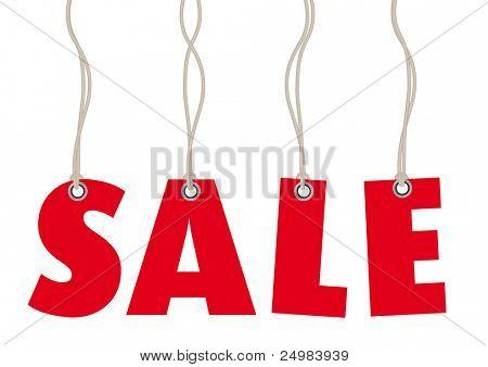 Sales labels in red made of text in vector