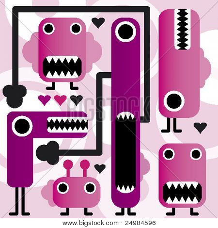 crazy weird freaky monsters in vector