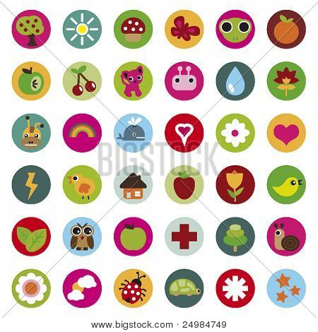 colourful collection of nature icons in vector