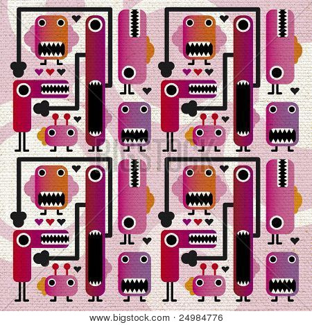 Cute grunge monsters background on fabric texture
