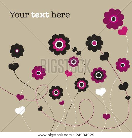 Flower wedding invitation card design in vector
