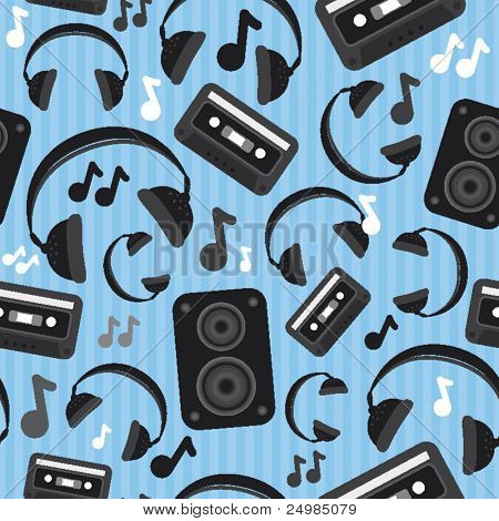 Seamless music sound and headphone pattern in vector