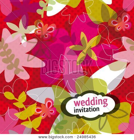 Modern wedding invitation design with flower pattern in vector