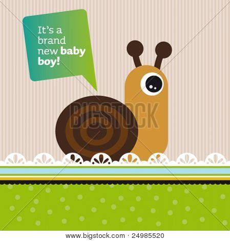 New born baby girl card design with helix snale in vector