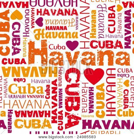 i love my Cuba Havana seamless pattern in vector