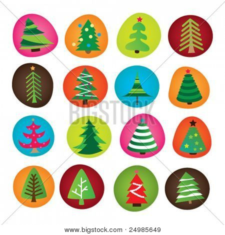 Type selection of christmas trees illustration in vector