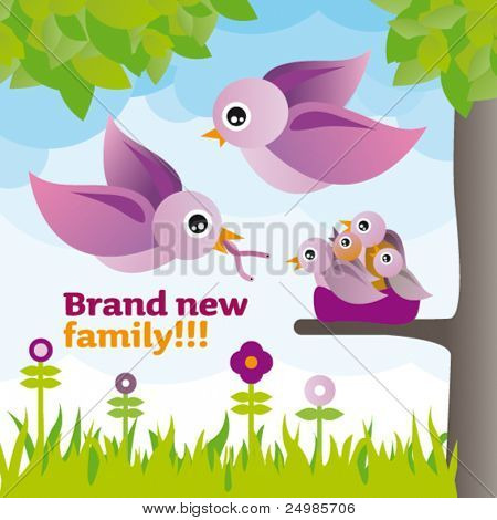 Baby announcement card design with birds in tree illustration in vector
