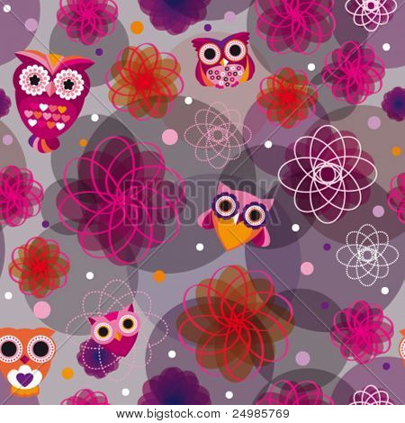 Cute owl seamless background pattern in vector