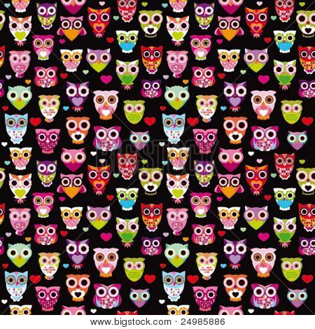 Seamless cute colourfull owl kids pattern background in vector