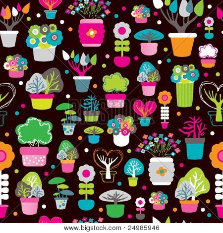Seamless interior decoration plants spring and autumn tree pattern in vector