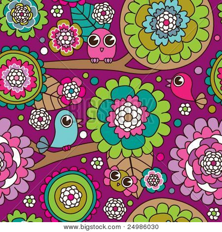 Seamless doodle flowers and birds background pattern in vector