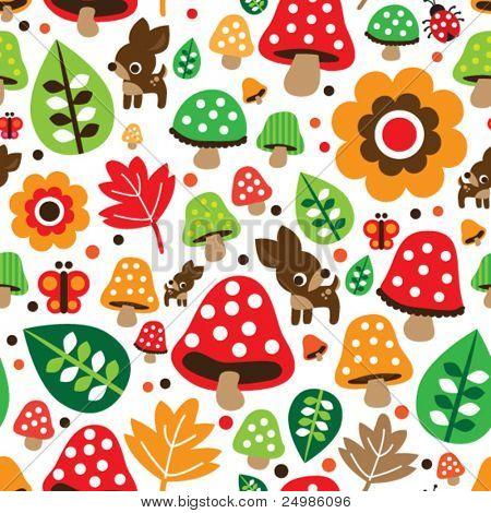 Seamless retro mushroom autumn deer pattern illustration in vector