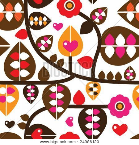 Seamless retro leaf and flower branch illustration background pattern in vector