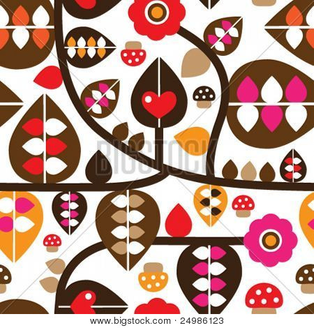 Seamless retro leaf tree mushroom illustration background pattern in vector