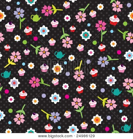 Seamless flower tea pot and cup cake pattern background in vector