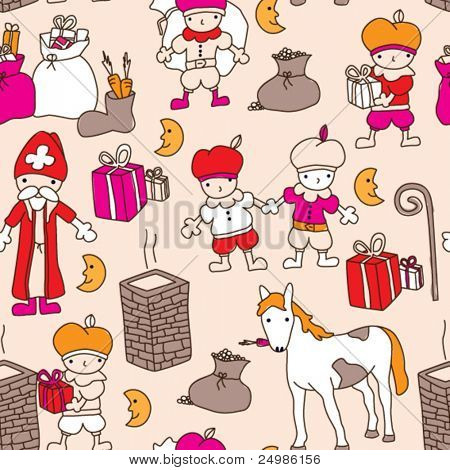 Seamless sinterklaas december present pattern background in vector