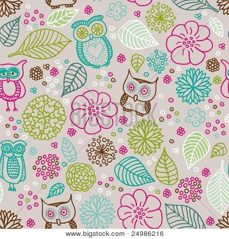 Seamless kid flower owl summer illustration pattern background in vector