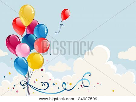Birthday balloons background with space for text