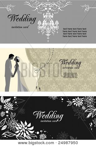 Three wedding cards  with space for text