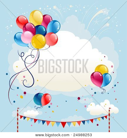 Festive balloons background with firework.Raster version
