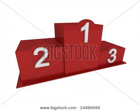 Isolated 3d red pedestal / podium with numbering in perspective view from left