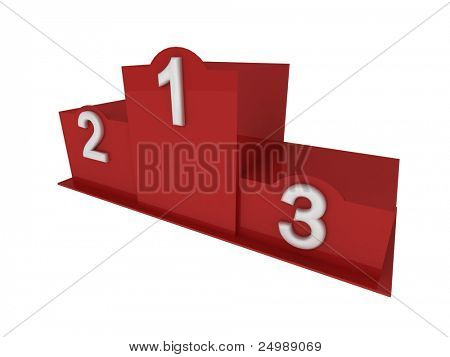 Isolated 3d red pedestal / podium with numbering in perspective view prom right