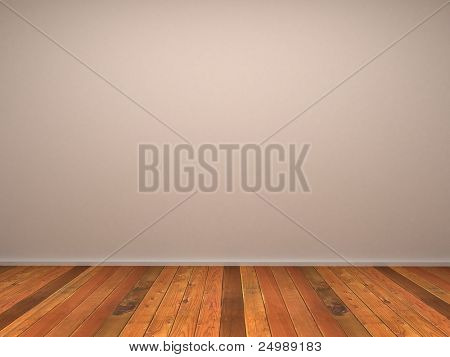 3d empty room's wall with wood parquet