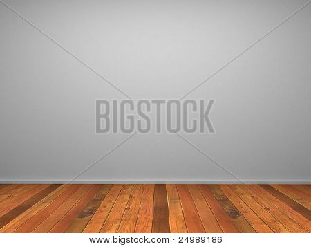3d empty room's wall with wood parquet and white wall