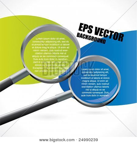 Abstract vector background with two magnifiers