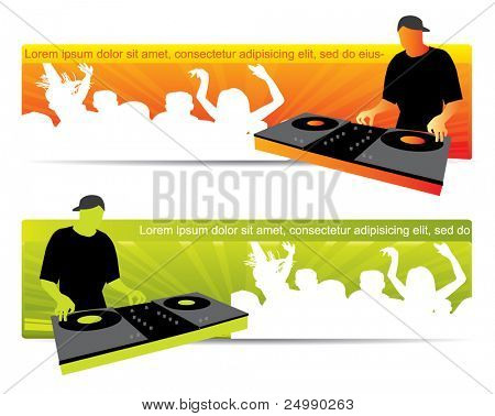Party website banners with dj and crowd in two color variations