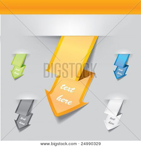 Vector arrow tags in different colors