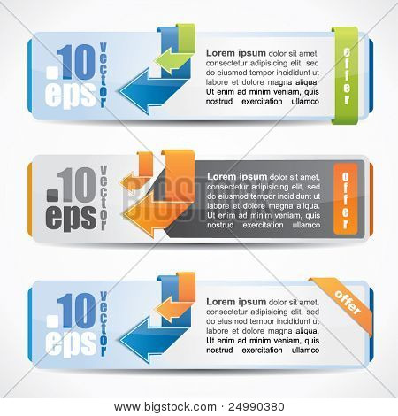 Modern website banner set with arrows in different color and design variations