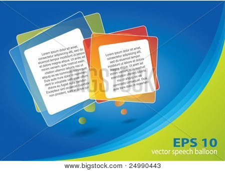 Abstract brochure design with rectangular speech balloons and area for text