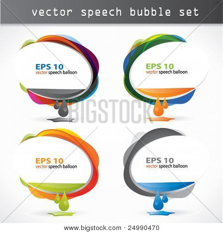 Modern web2 speech bubble set with ink running out from it's interior