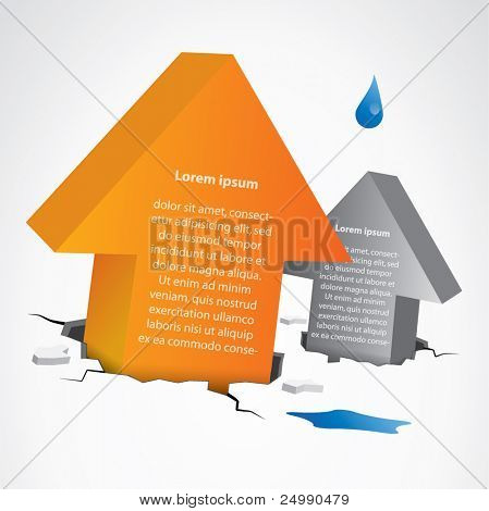 3d vector background composition with two arrows breaking out from the ground