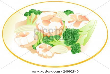 Vector Stir Fried King Prawn with Broccoli & Onions on a Gold Rim White Plate